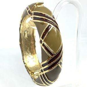 Nat Landau Hyman Green Enamel Cuff Bangle Bracelet